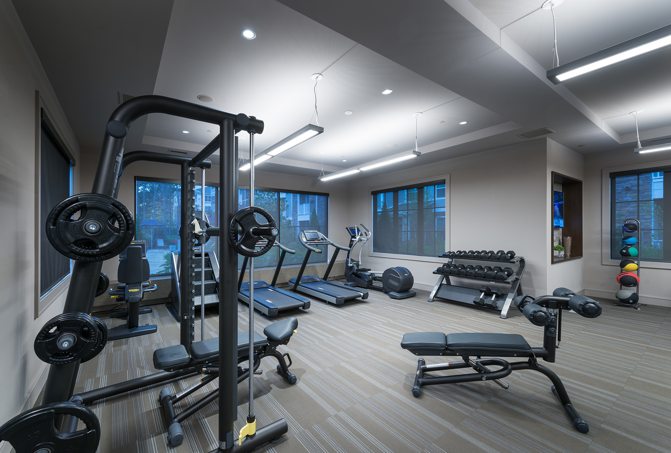 Image of On-site 24-hour fitness center with tablet-integrated cardio machines for Hanover at Andover