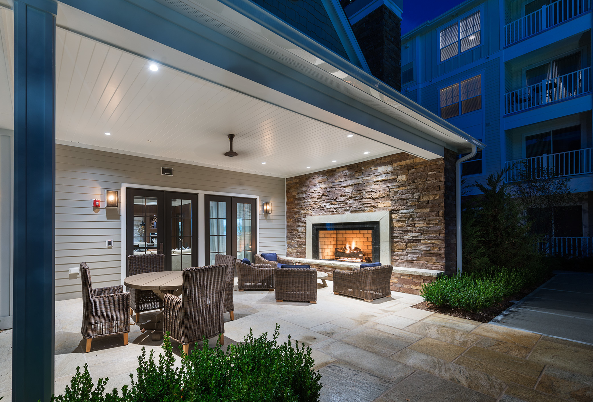 Image of Cafe patio with outdoor seating and fireplace for Hanover at Andover