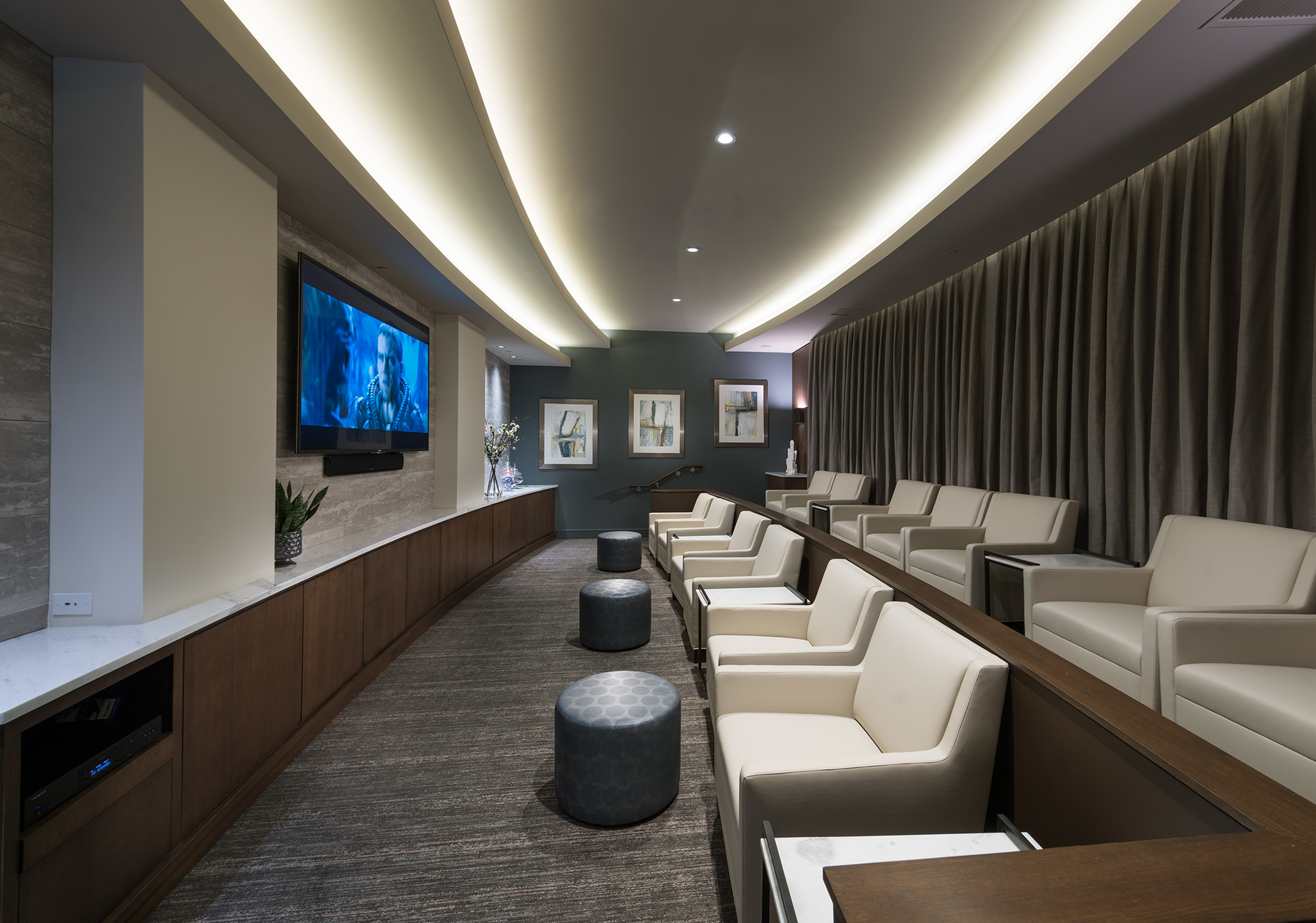 Image of Private Media Room Featuring Surround-Sound and Stadium Seating for Hanover at Andover