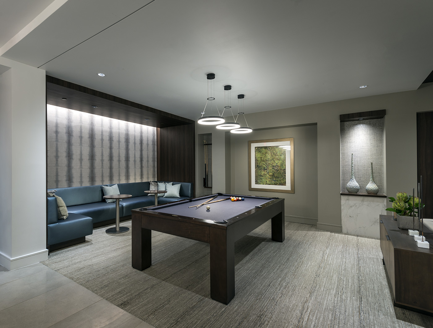 Image of SMART TV lounge with billiards and conversational seating areas for Hanover Perimeter