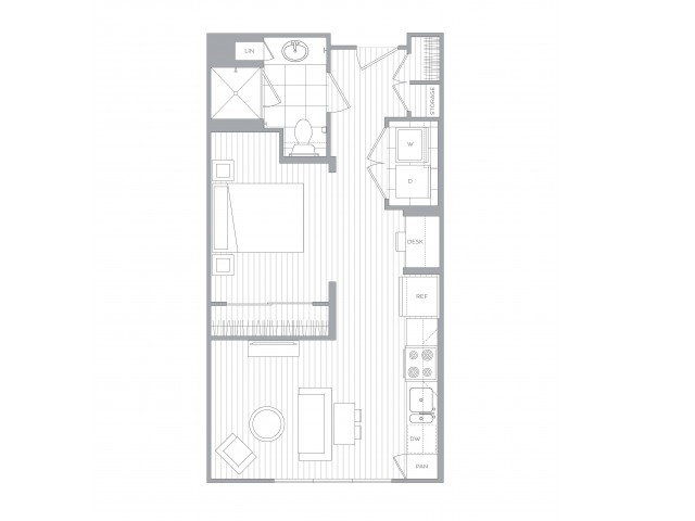 Floorplan A: Studio / 1 Bath