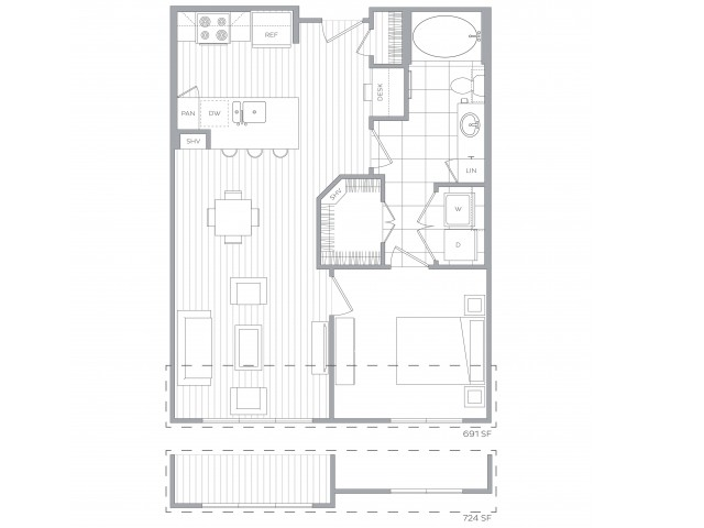 Floorplan B: 1 Bedroom / 1 Bath