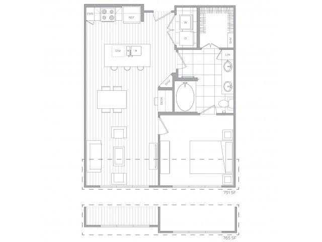 Floorplan D: 1 Bedroom / 1 Bath