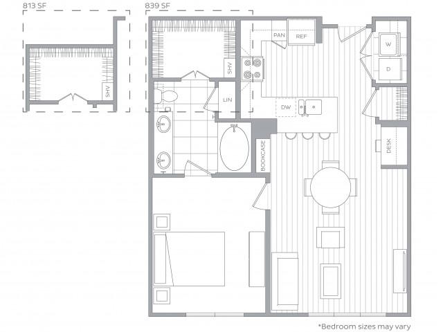 Floorplan E: 1 Bed / 1 Bath