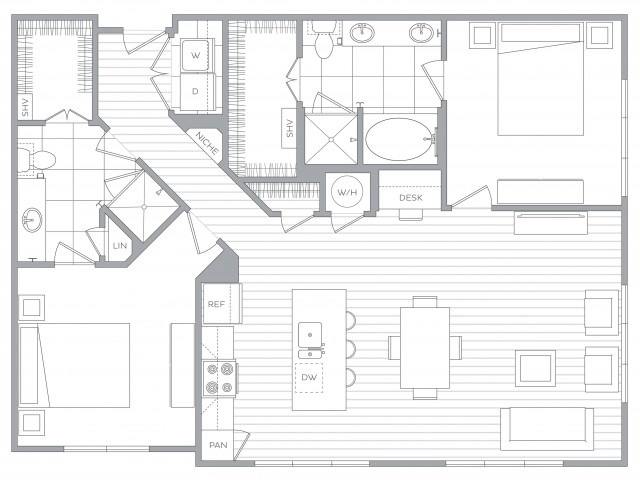 Floorplan H: 2 Bed / 2 Bath