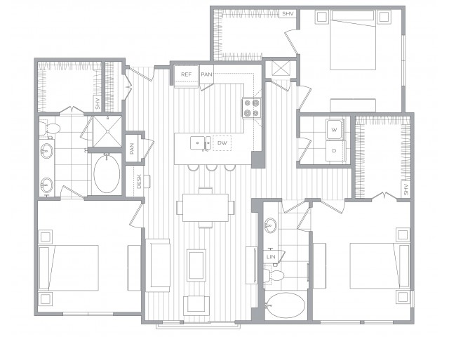 Floorplan I: 3 Bed / 2 Bath