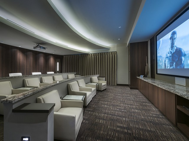 Media room with 147\' HD Projector at Hanover Buckhead Village