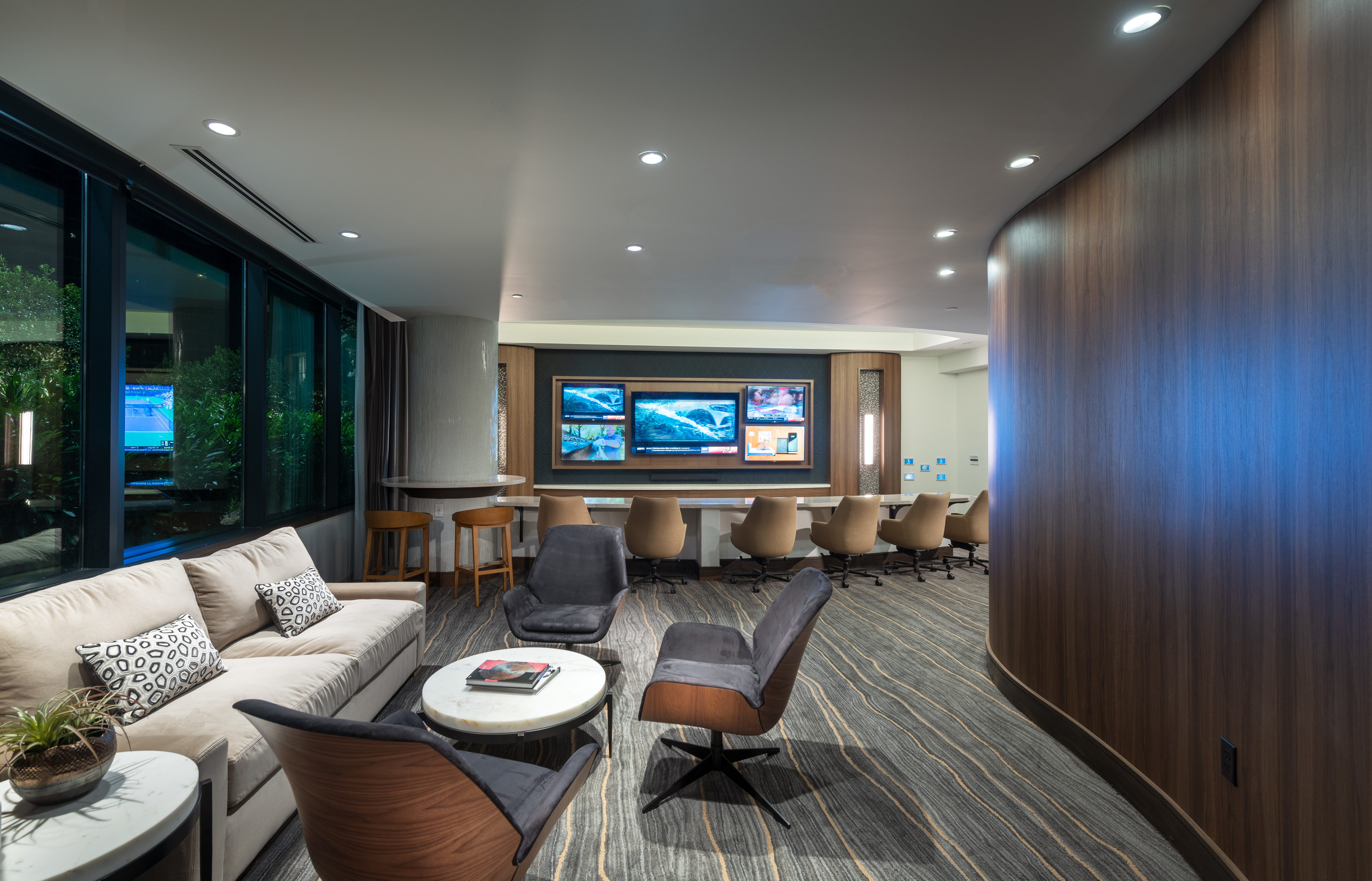 Image of Media Room Featuring 5 Smart TV's and Lounge Seating for Hanover Midtown