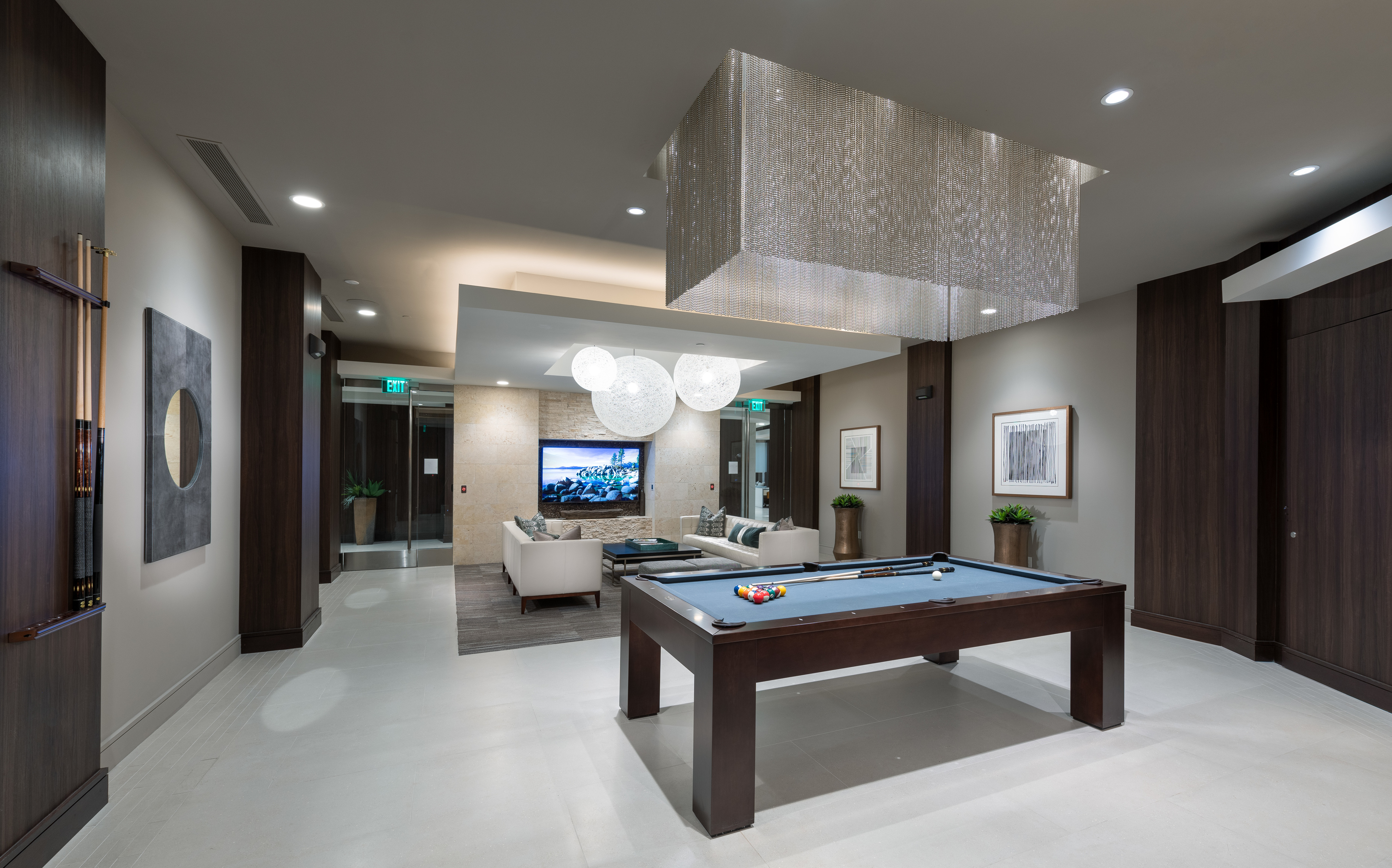 Resident lounge with billiards table and seating area at Hanover Broadway