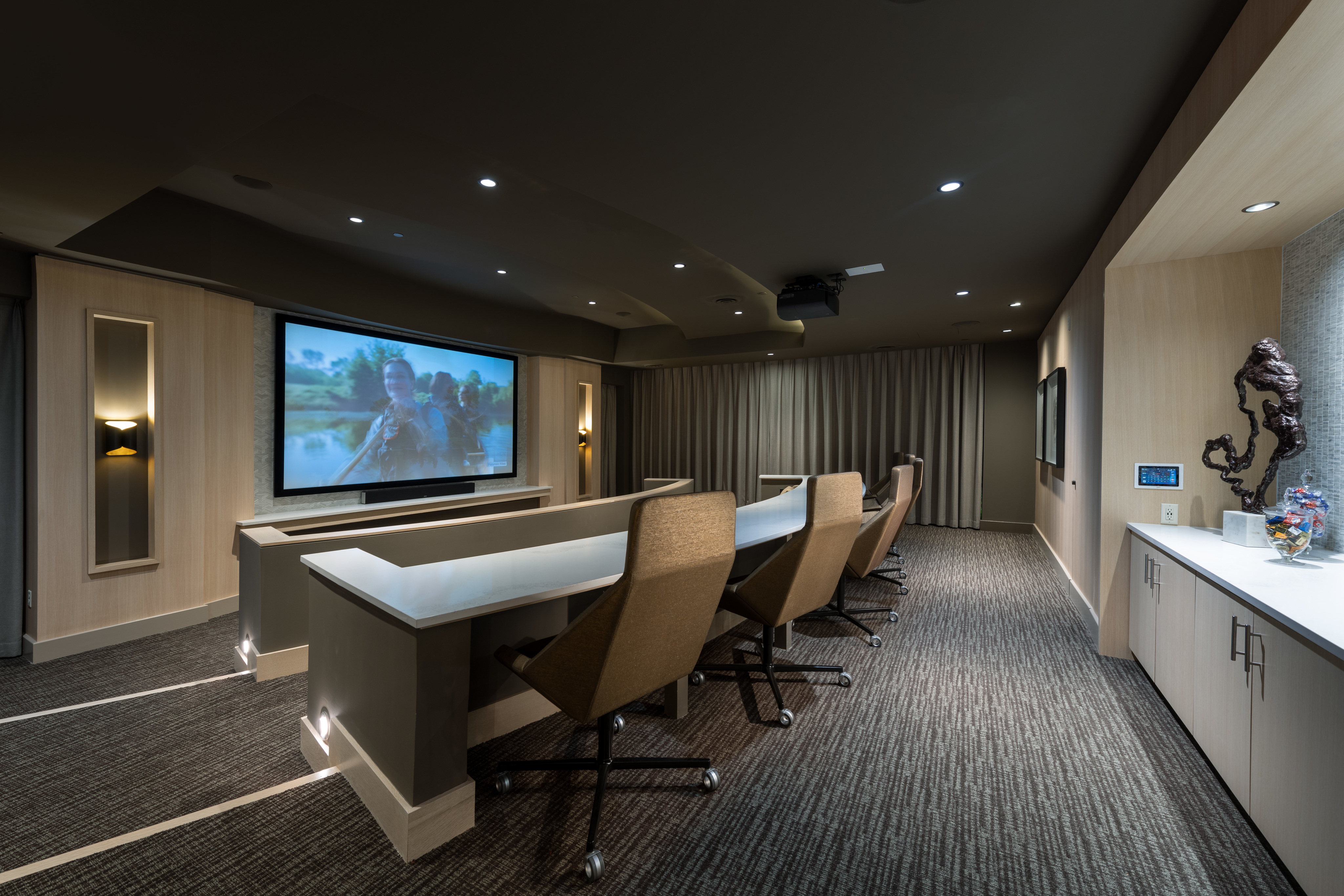 Private Media Room with HD Projector, Surround-Sound and Theater-Style Seating at Hanover Westford Valley