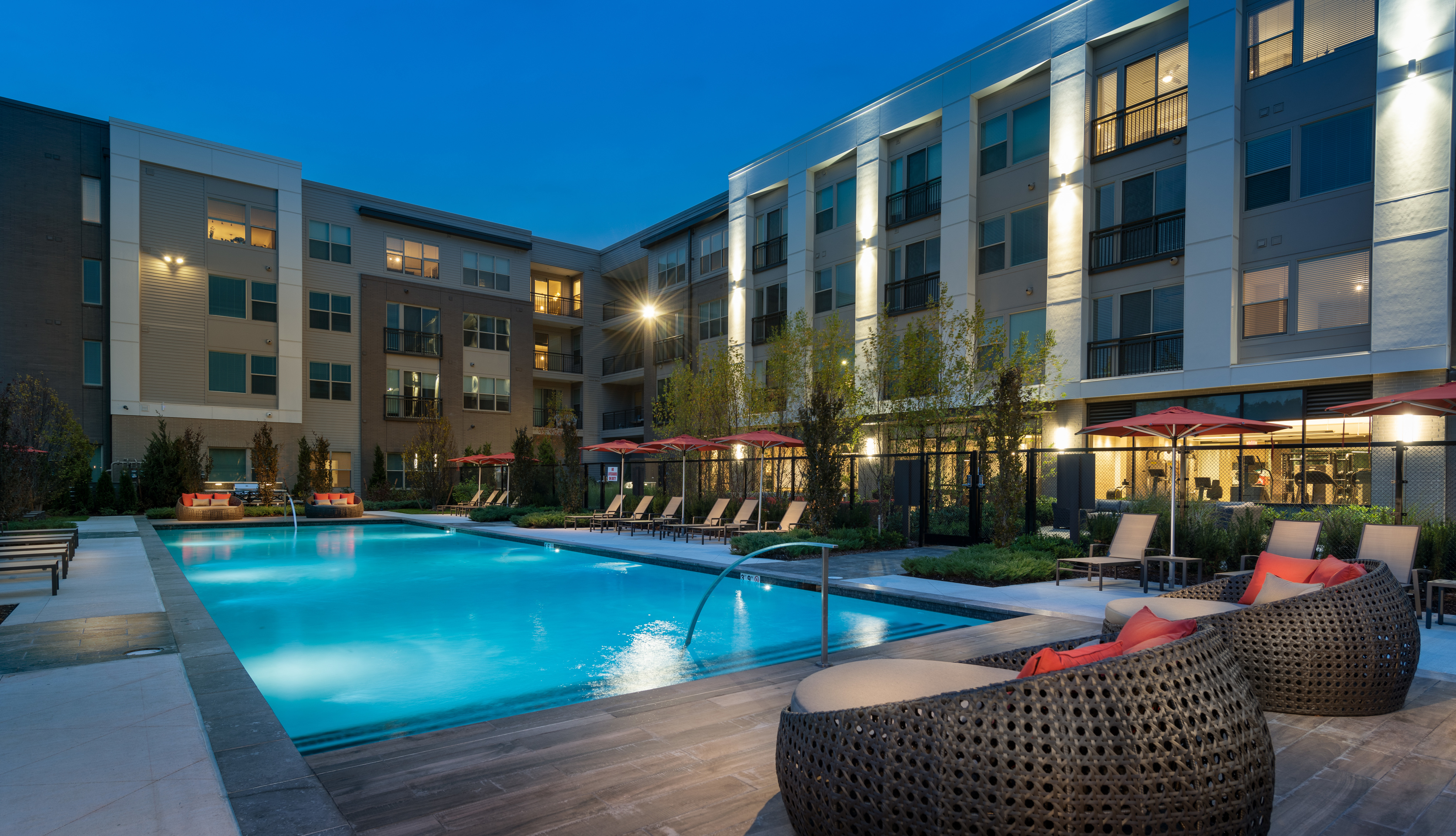 Resort-Style Pool with Pool-Side Seating and Outdoor Dining and Grilling Areas at Hanover Westford Valley