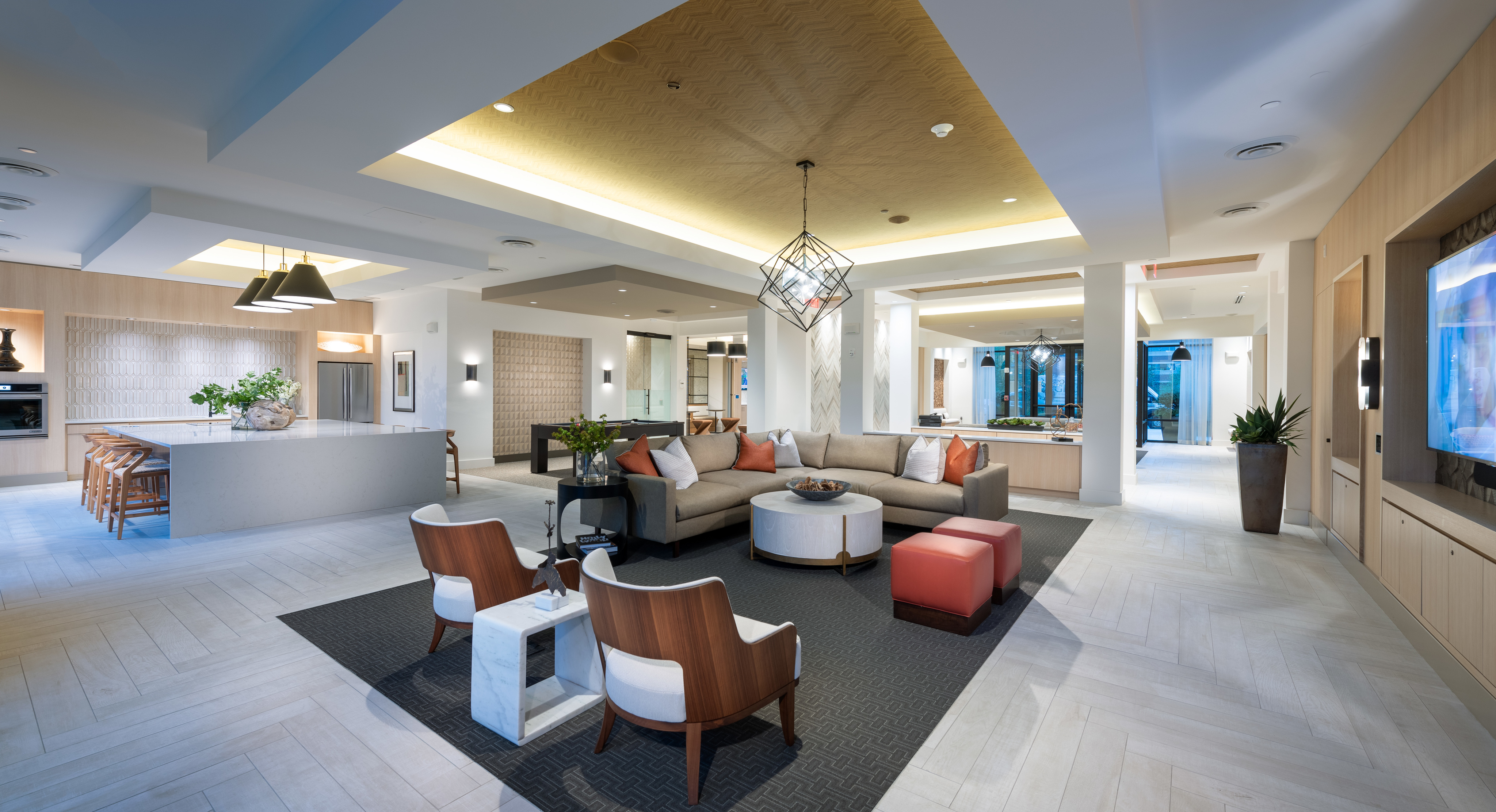 Resident clubhouse with Smart TV lounge and billiards at Hanover Westford Valley