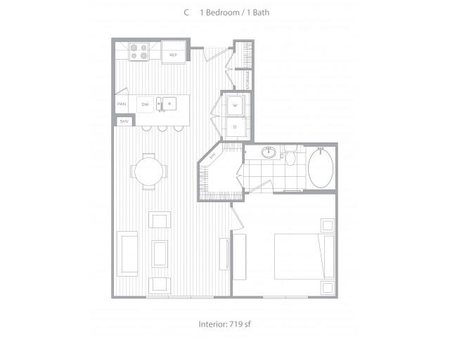 Floorplan C: 1 Bedroom / 1 Bath