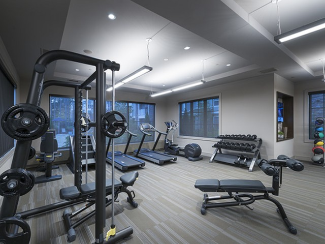 Expansive 24-hour Fitness Center with TechnoGym, Cardio Strength Equipment, and Peloton On-Demand Bikes at Hanover Westford Hills