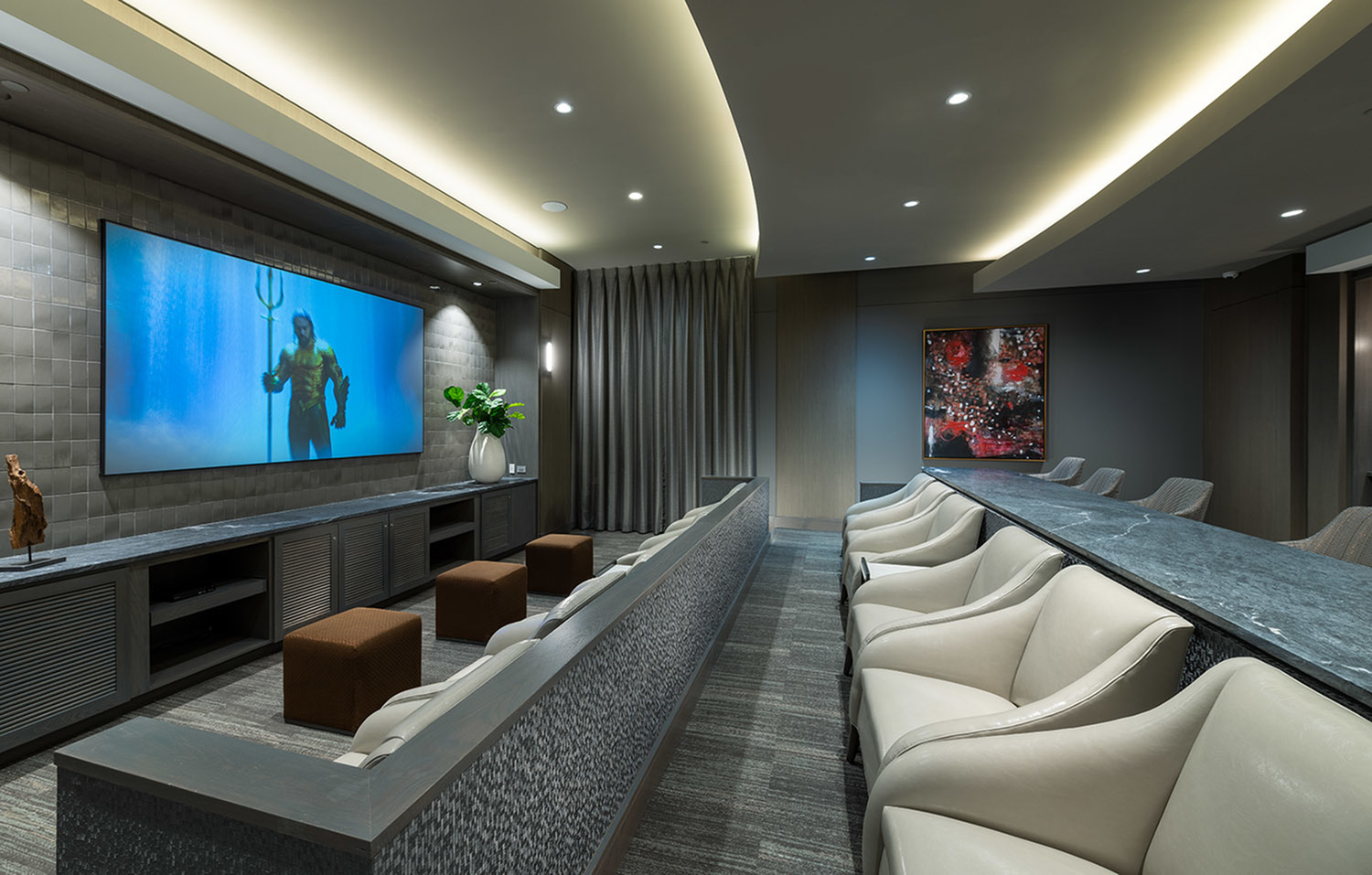 Private Media Room Featuring Surround-Sound and Theater-Style Seating at Hanover Town Center