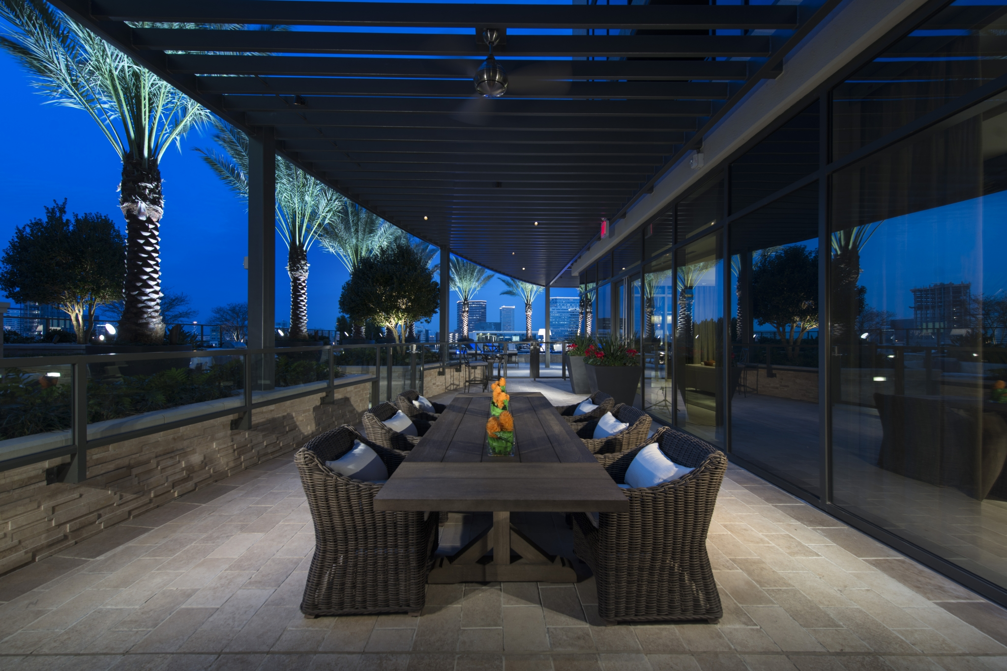 Pool-side private cabanas, luxury lounge seating at Hanover Post Oak
