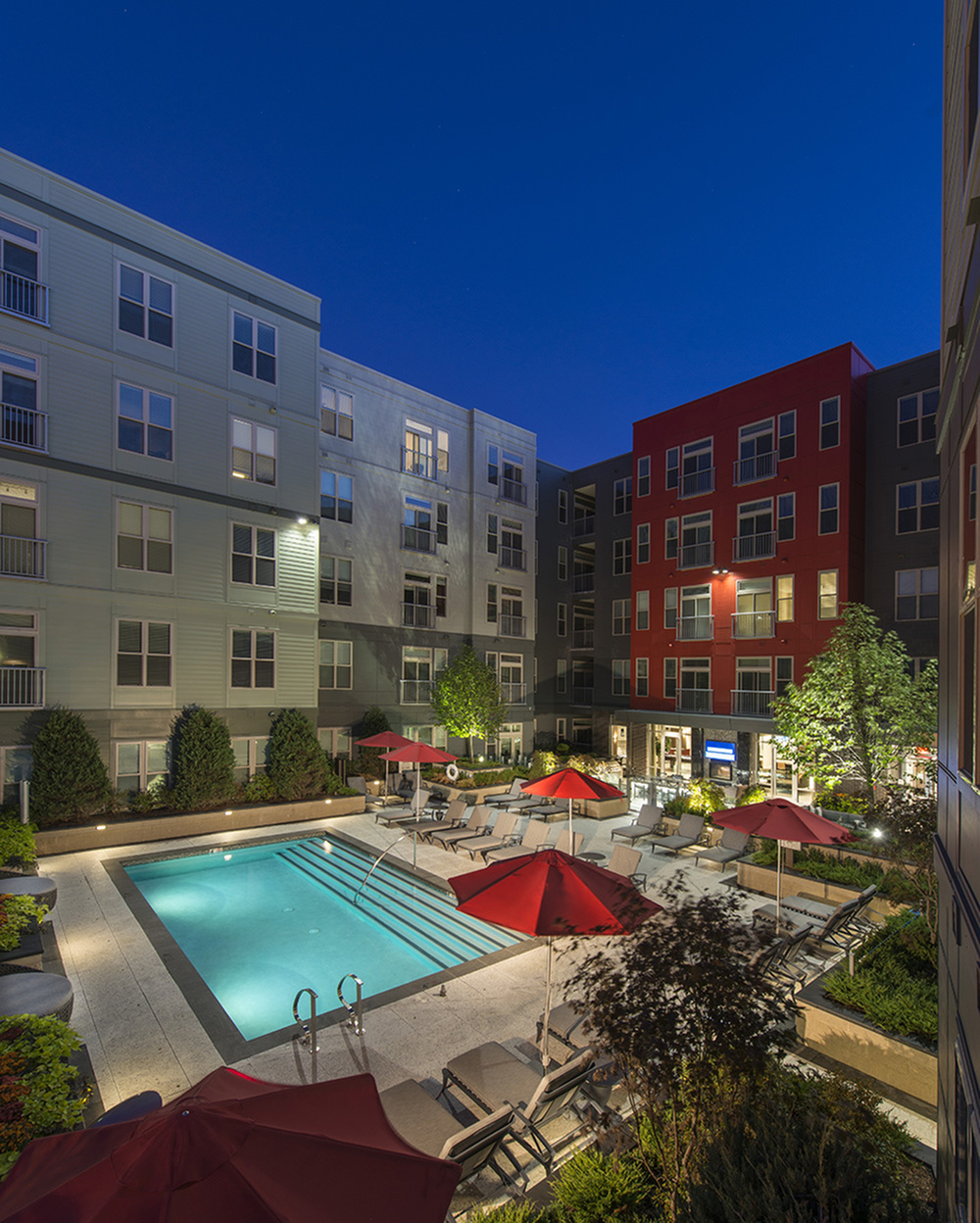 Expansive resort-style pool courtyard at Hanover Alewife