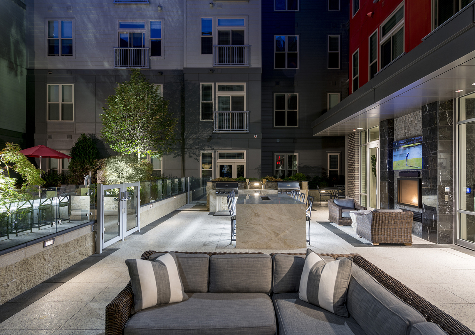 Two landscaped courtyards with dining and grilling stations at Hanover Alewife