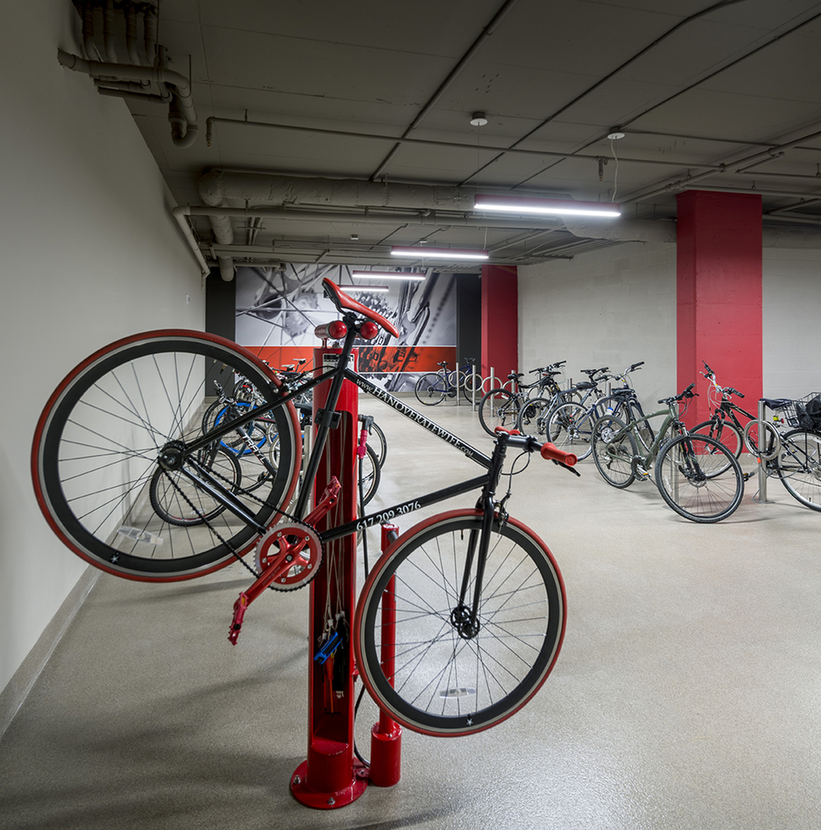 Designated bike storage room with fix-it station at Hanover Alewife