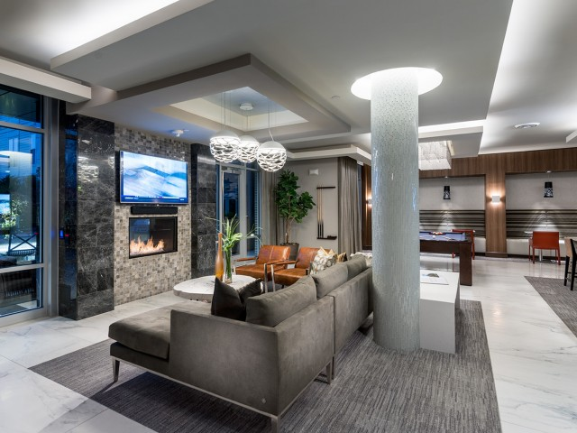 Fully-equipped residents\' dual-level clubhouse and Resident Lounge at Hanover Alewife