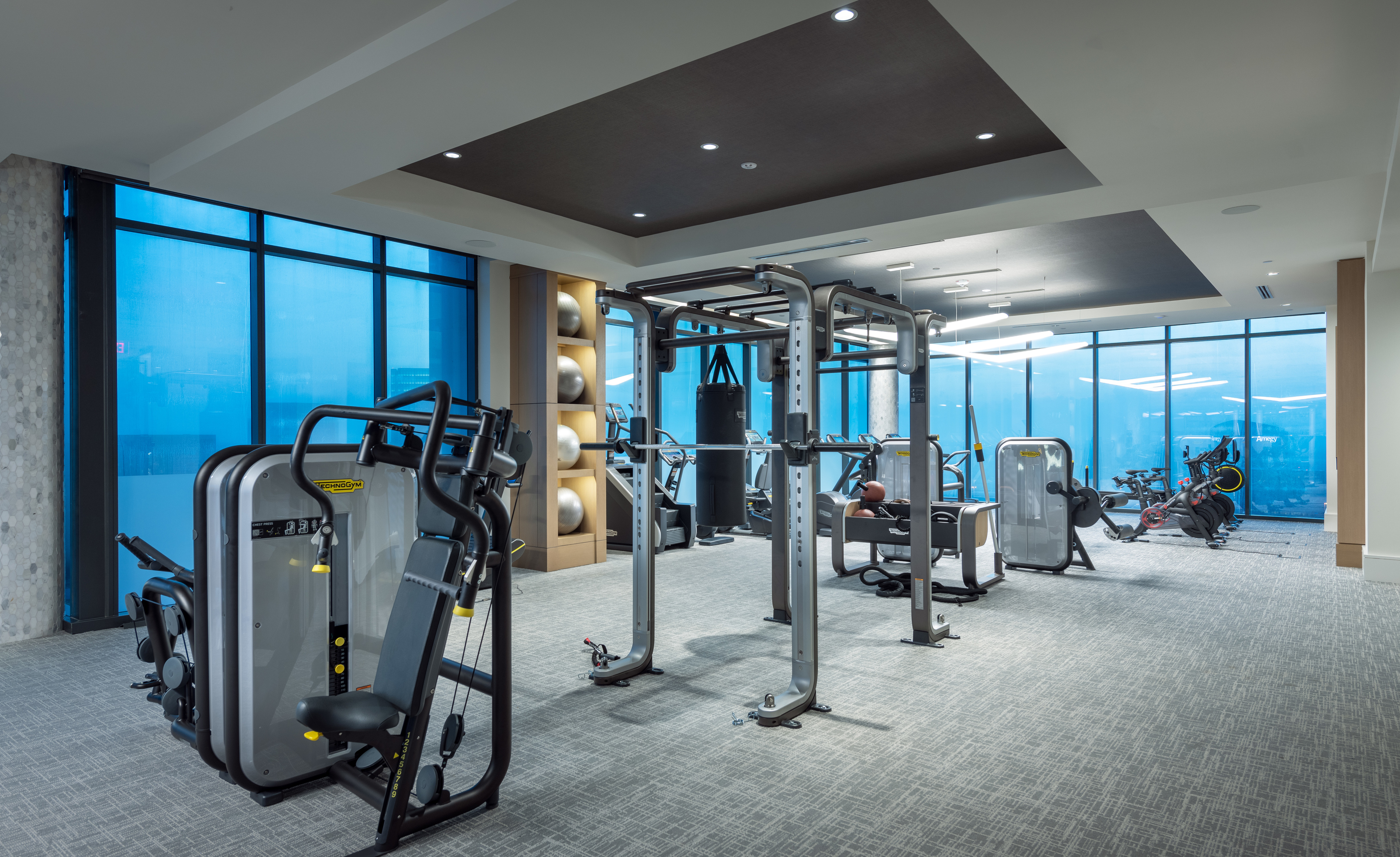 2400 Sq Ft Technogym featuring TRX, SkillMill Treadmills, Row Machines, Barre Bar, Punching Bag & Stretching Space at Hanover BLVD Place