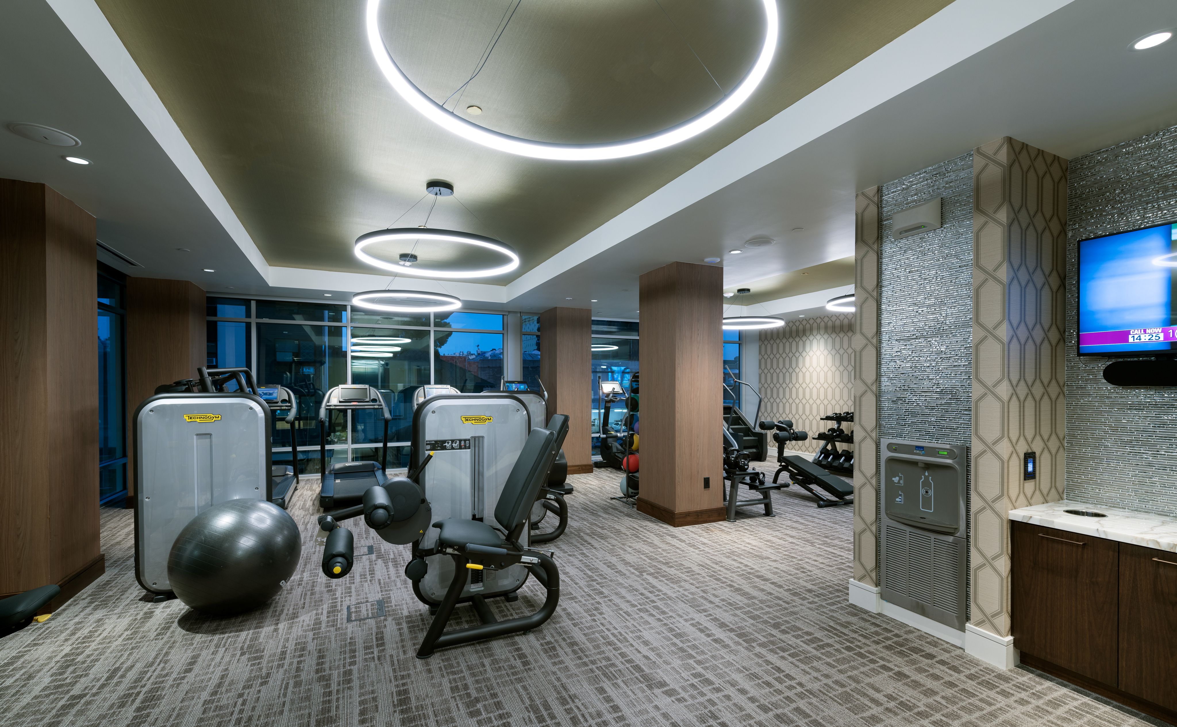 24-Hour Fitness center with tablet integrated cardio equipment at Hanover Northgate