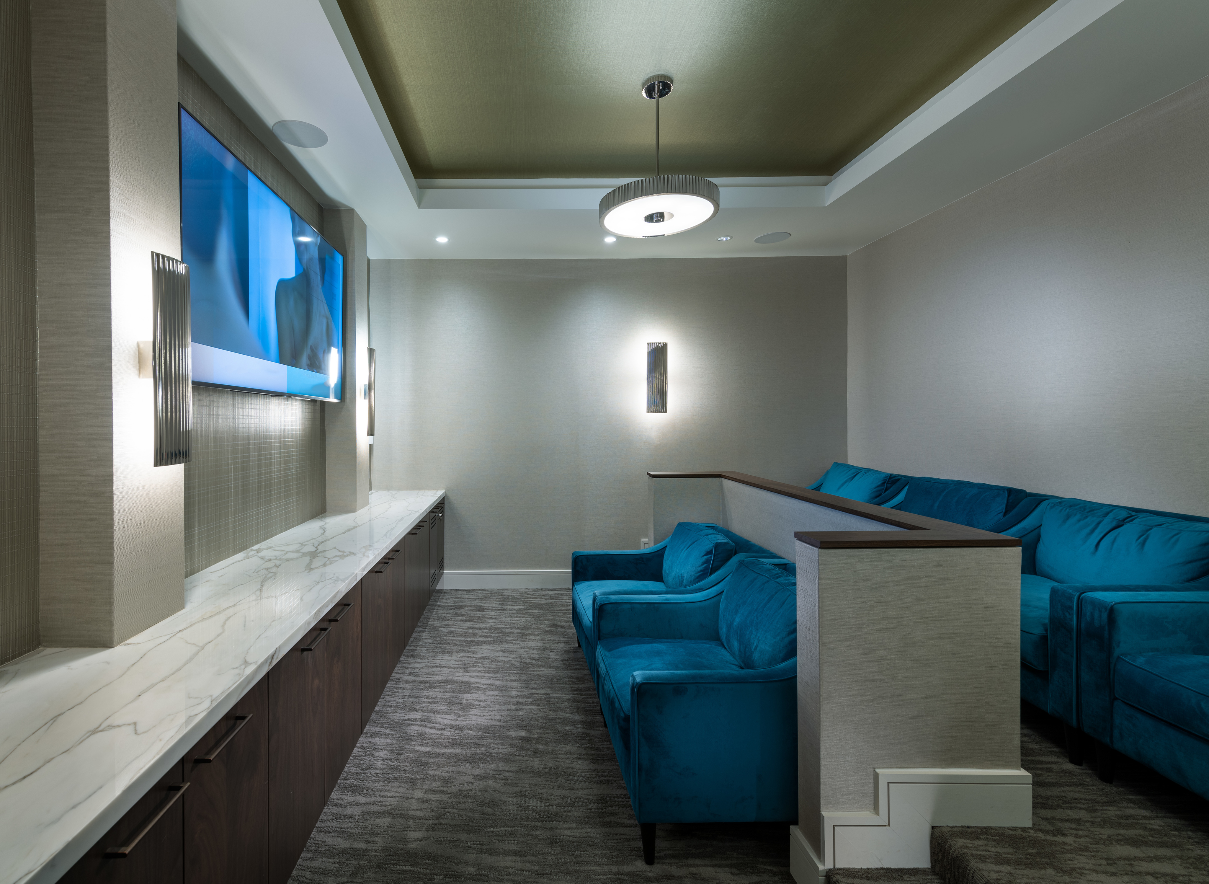 Private media room featuring surround-sound theater-style seating at Hanover Northgate