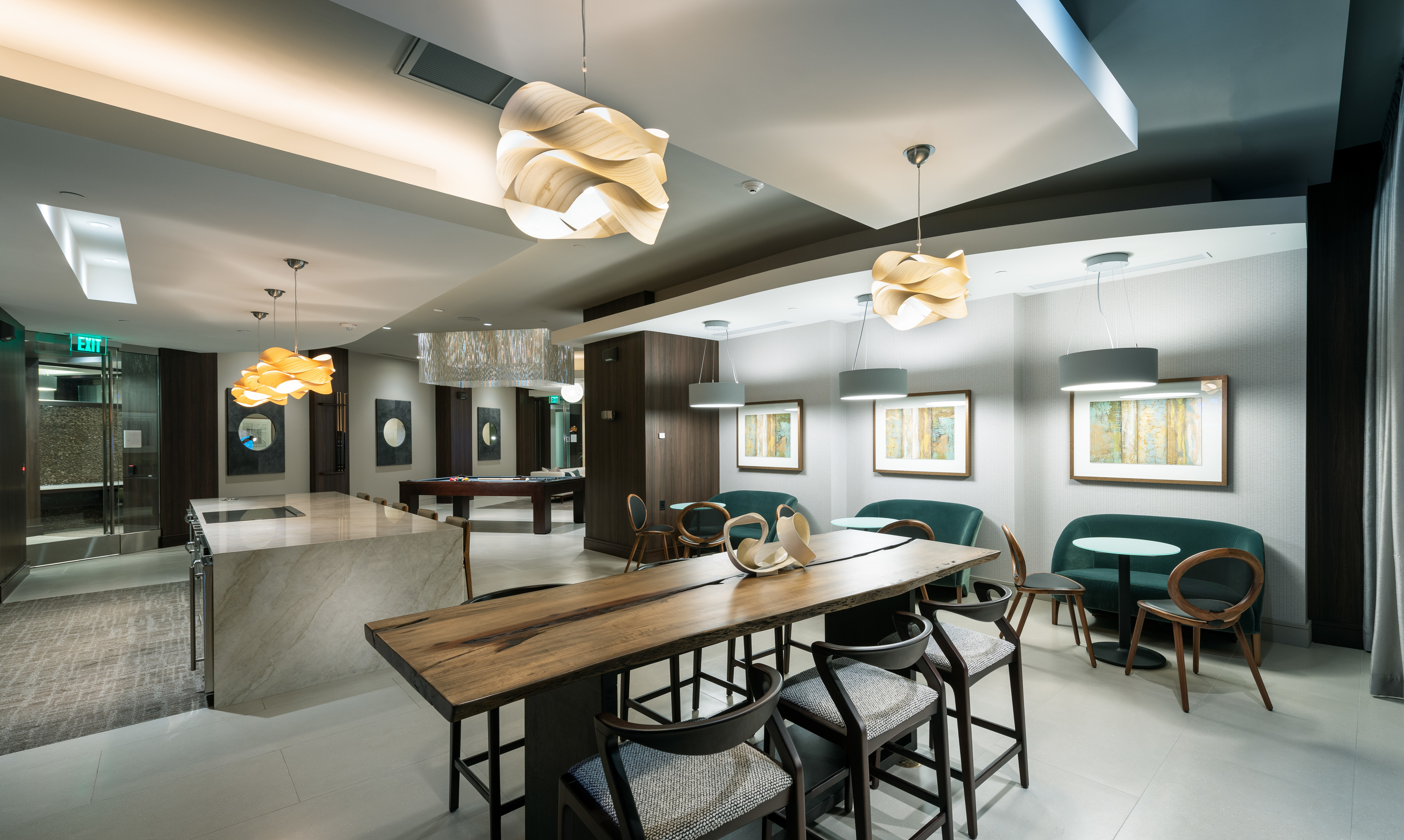 Resident clubhouse and catering kitchen at Hanover Broadway