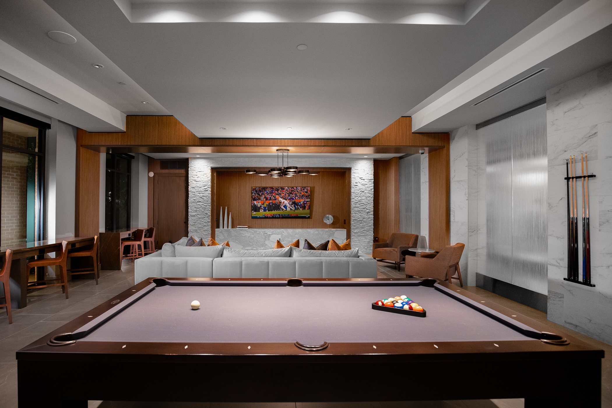 Resident Clubhouse with Smart TV and Billiards Table at Hanover The LINC Brookhaven