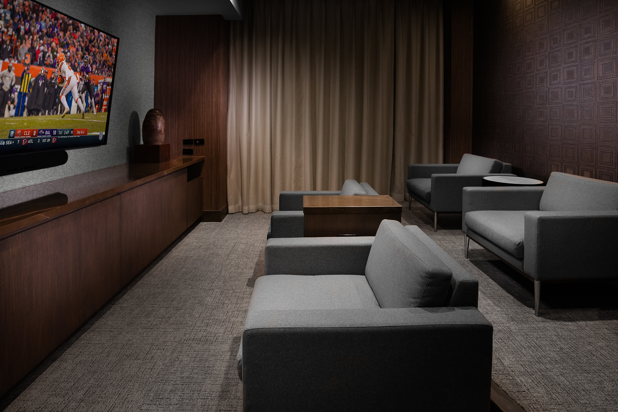 Media Room Featuring Surround-Sound and Smart TV at Hanover The LINC Brookhaven
