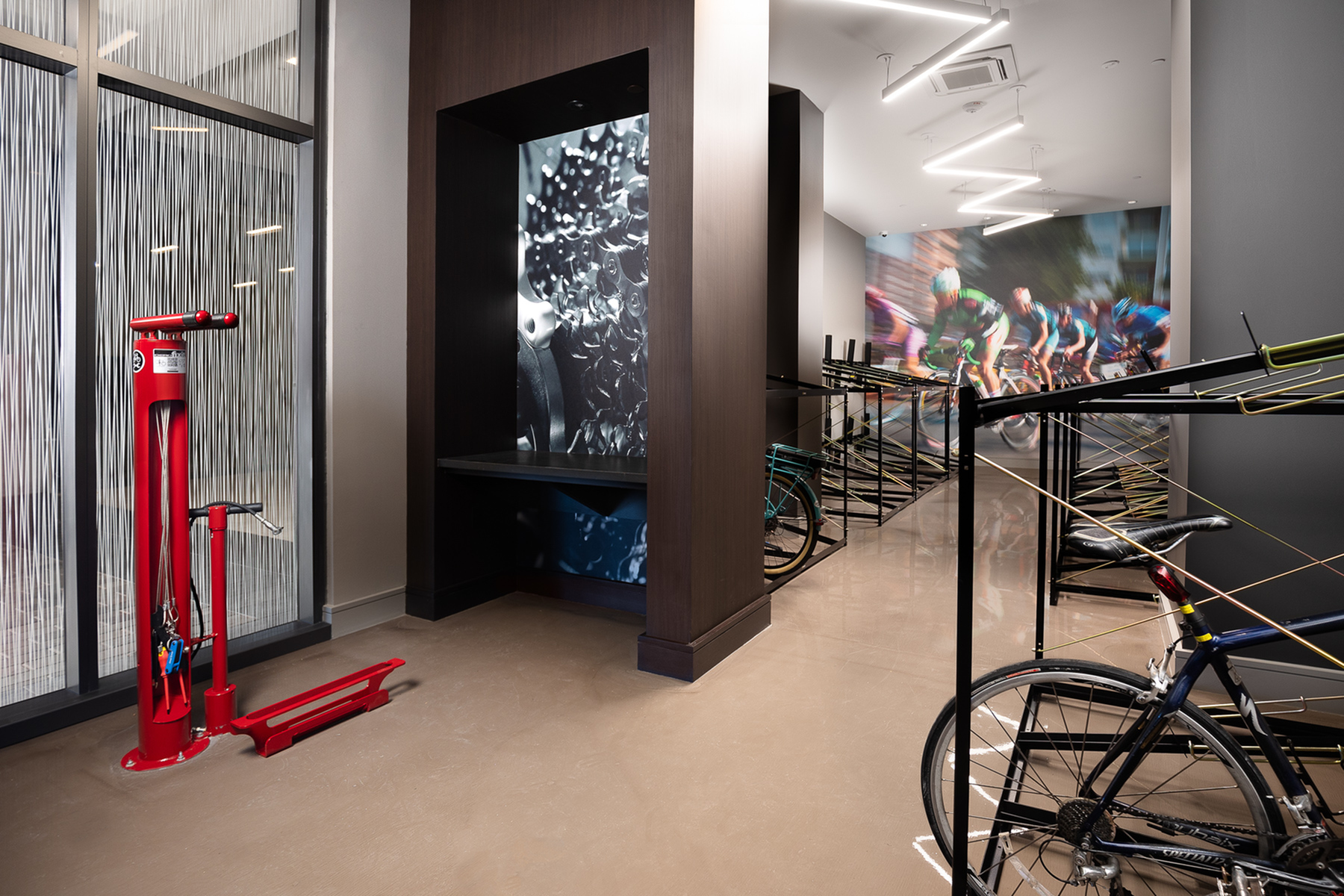 Bike storage room with fix-it station