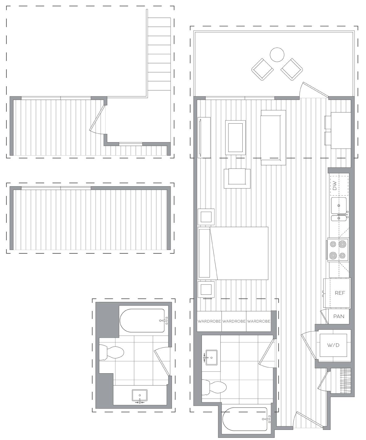 Studio / 1 Bath