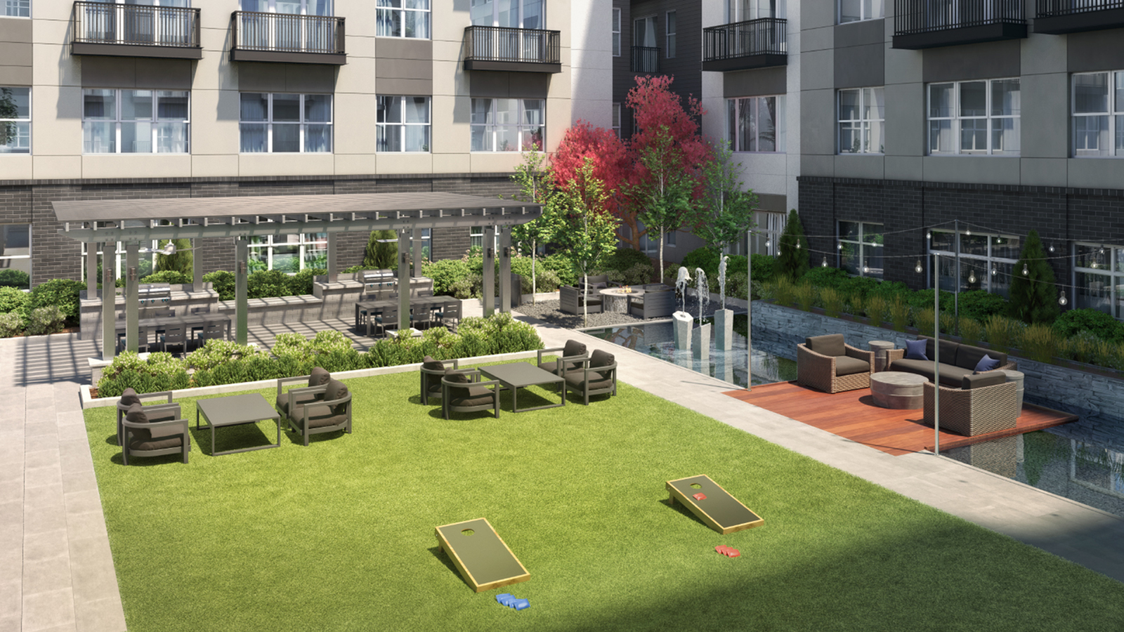 Outdoor Fountain Feature, Wood Decks with Lounge Seating, and Outdoor TVs