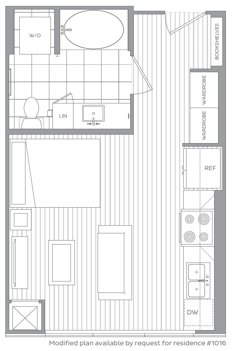 A -  Studio / 1 Bath