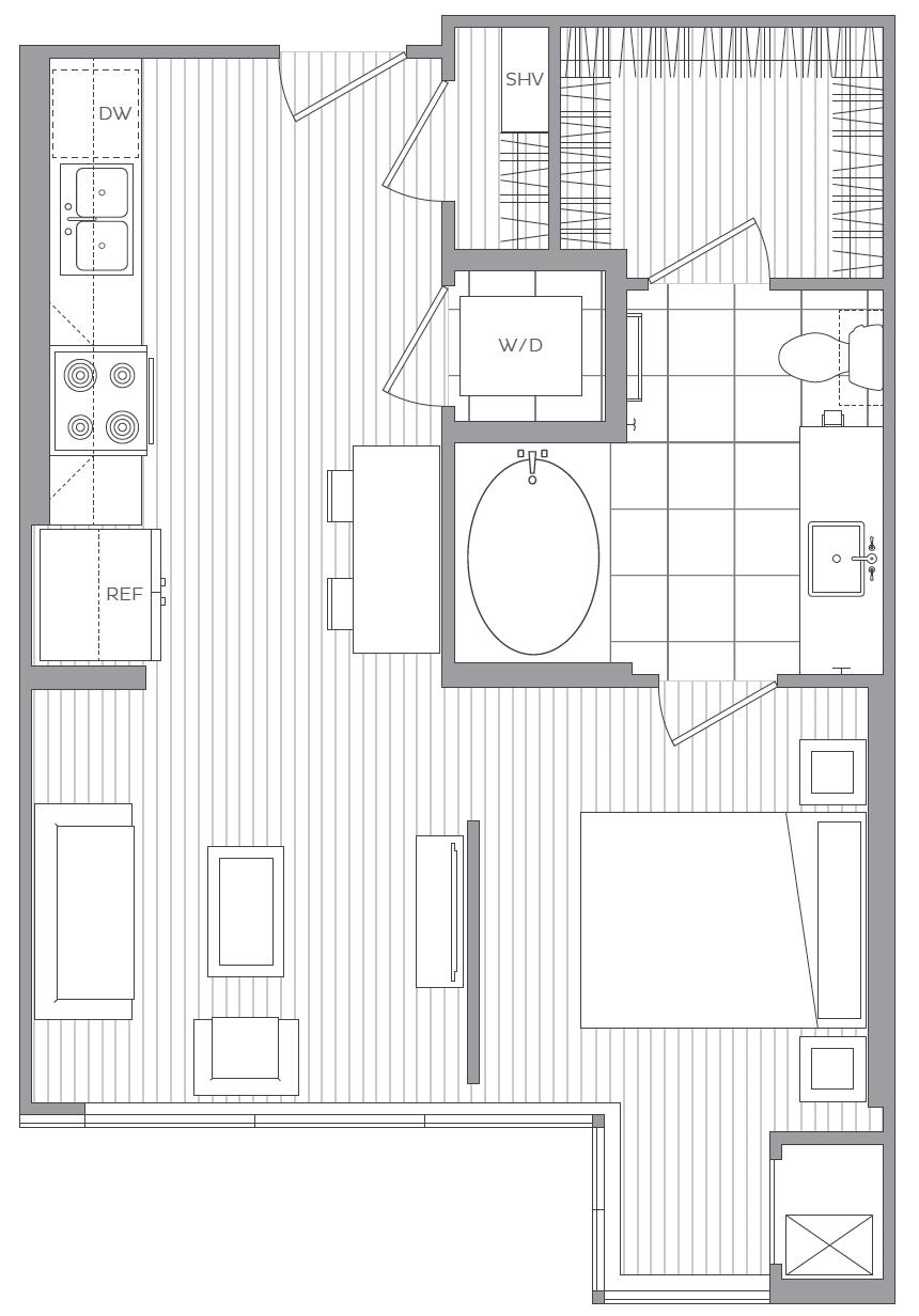 D - Studio / 1 Bath