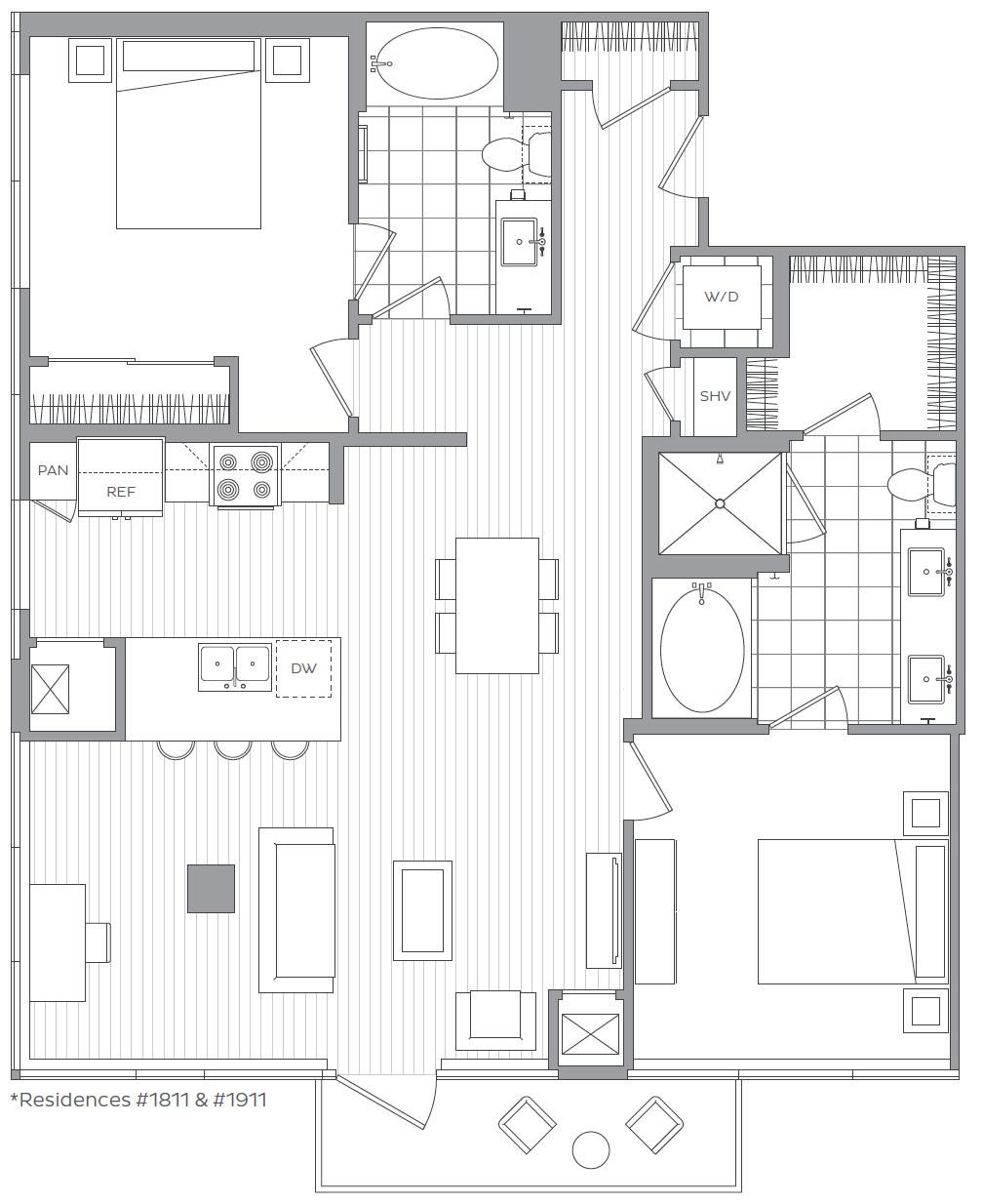 W - 2 Bedroom  / 2 Bath