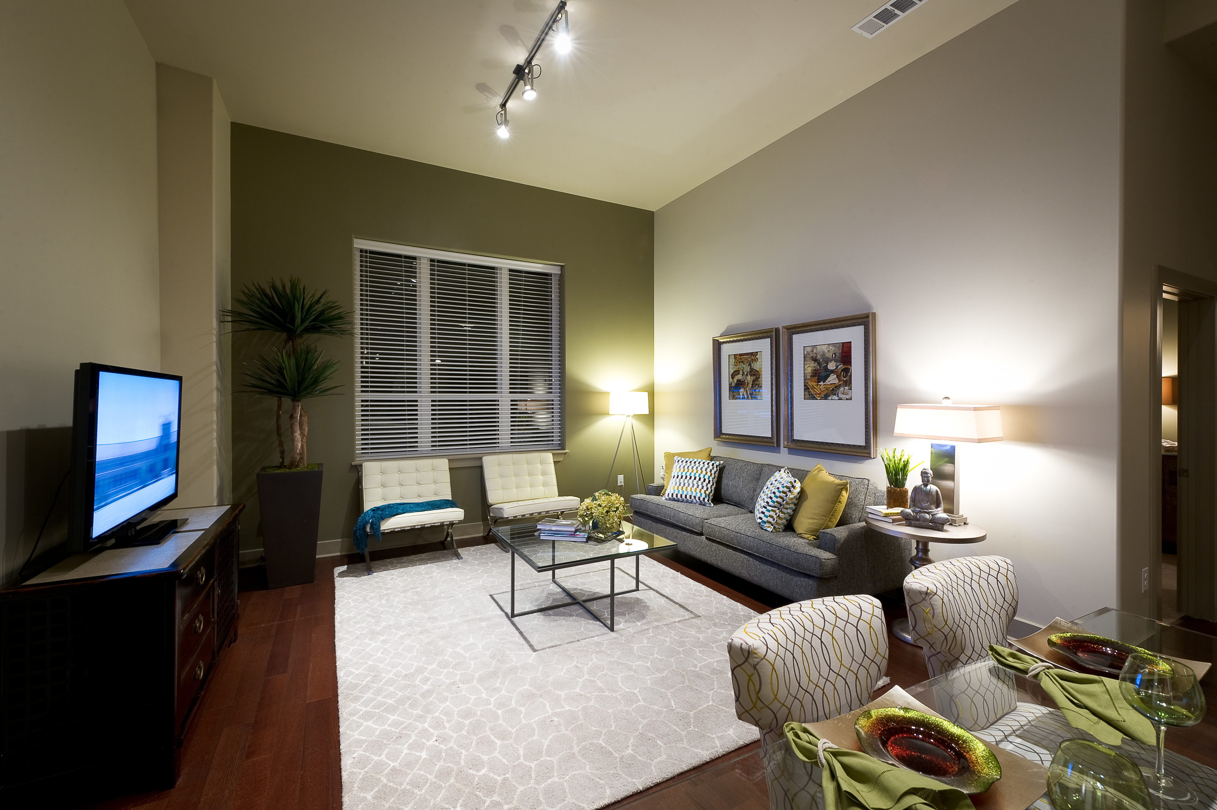 Open living spaces with high ceilings