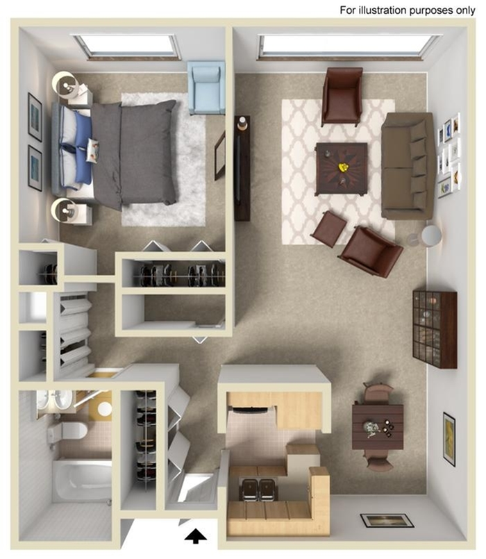 1 Bedroom 1 Bathroom- A