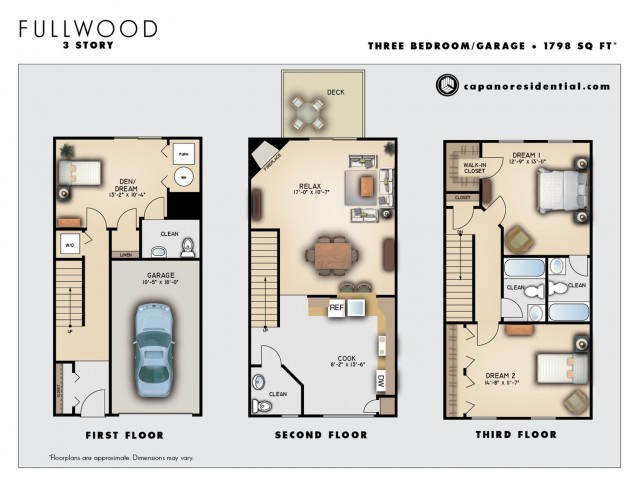 Fullwood Three Story 2 Bedroom 3.5 Bathrooms with Garage