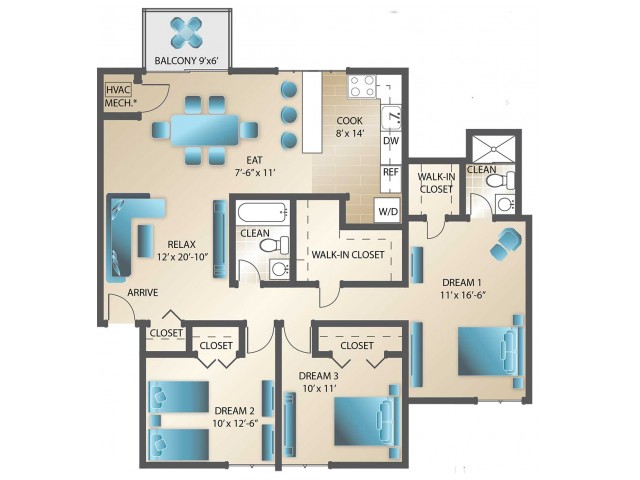 3 Bedroom, 2 Bathroom 1,255 Sq.Ft.