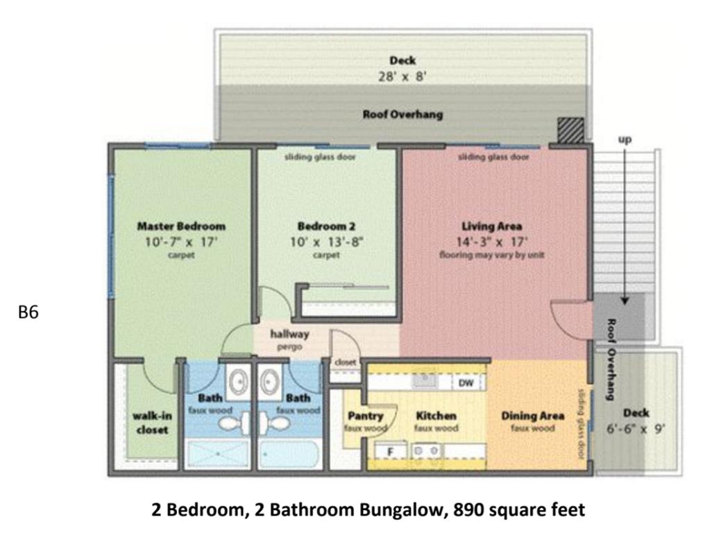 2x2 Bungalow 890 SF Floorplan