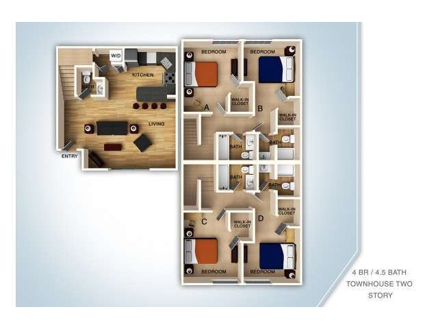 1 - 4 Bed Apartments | Campus Court at Knollwood