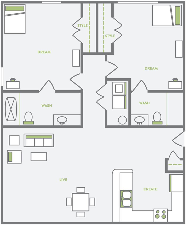 two bedroom two bathroom student housing