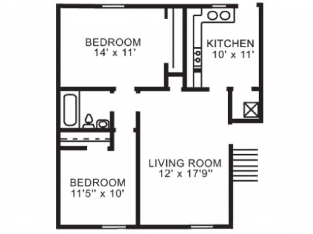 2 bedroom 1 bath flat