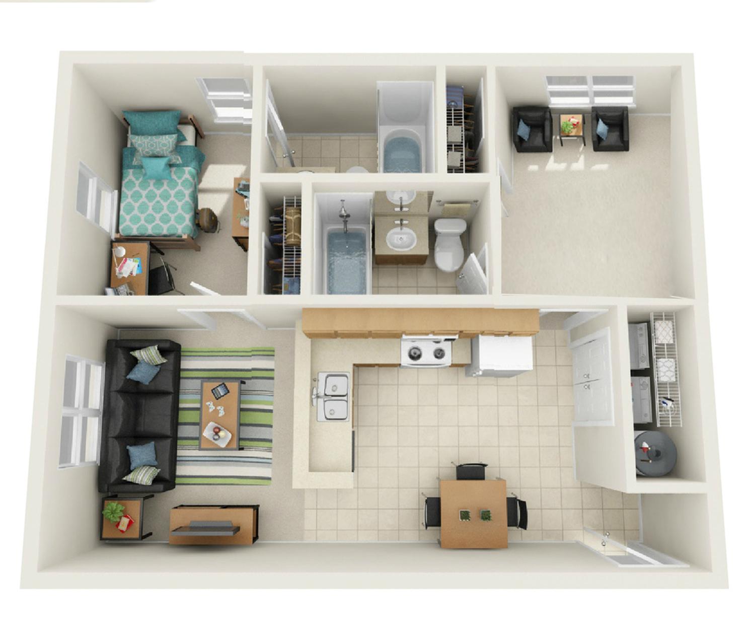 2 Bedroom Deluxe Floor Plan