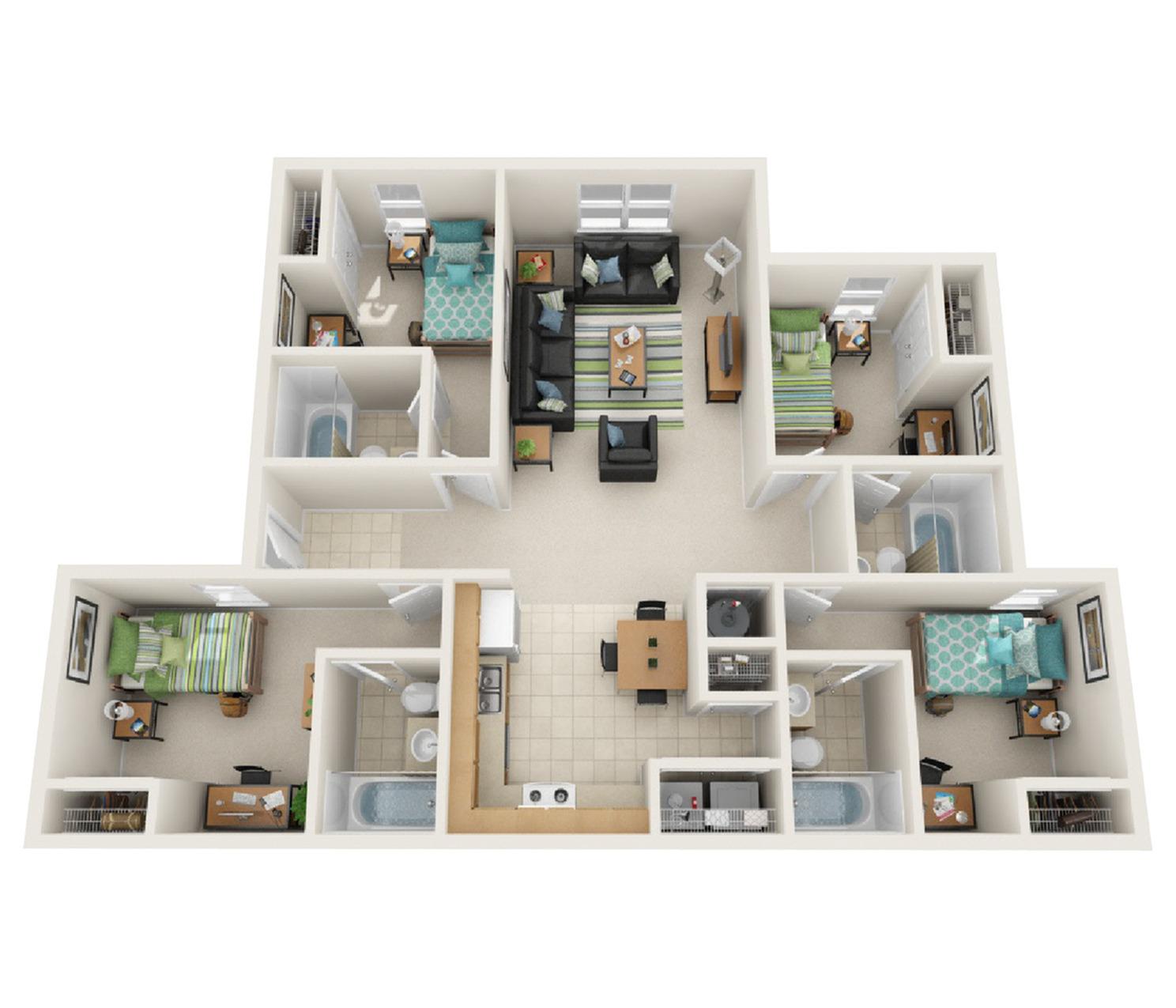 4 Bedroom Deluxe Floor Plan
