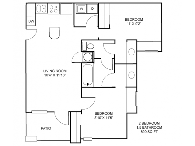 for the Individual Lease   2 Bedroom w JackJill Bath floor plan. 2 Bed   1 5 Bath Apartment in College Station TX   The Trails At