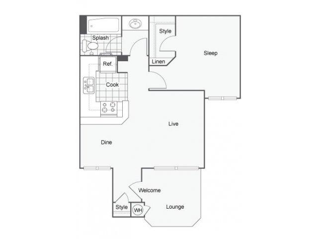 Renew at The Shops | One Bedroom Floorplan