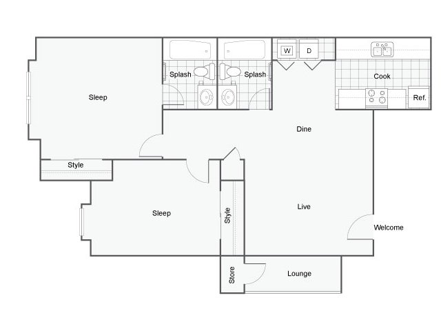 Floor Plan 1 | The Bryant Apartment Homes