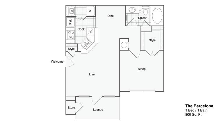 Floor Plan 2 | Two Bedroom Apartments In Atlanta GA | The Artisan Luxury Apartment Homes